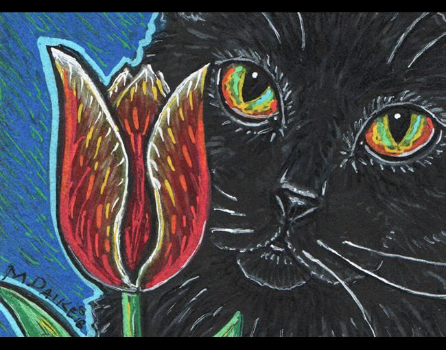 Art: Black Cat and Tulip by Artist Melinda Dalke