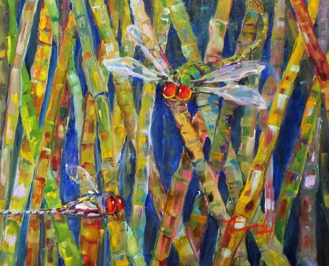 Art: Dragonflies and Bamboo by Artist Delilah Smith