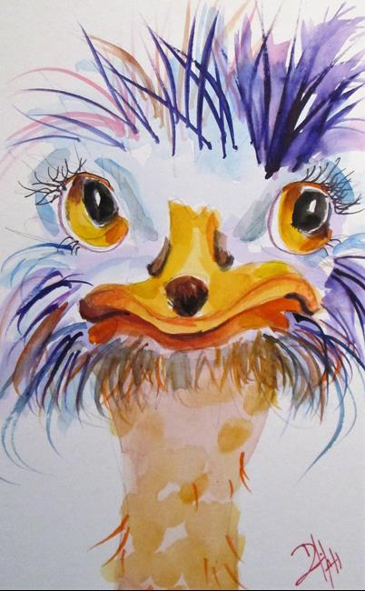Art: Smiling Ostrich by Artist Delilah Smith