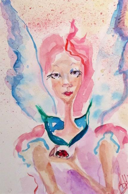 Art: Fairy and Ladybug by Artist Delilah Smith