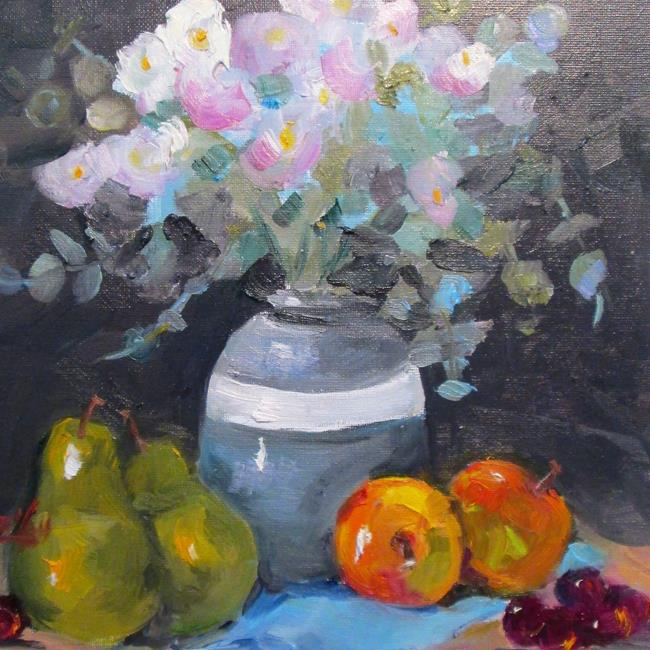 Art: Floral Still Life and Fruit by Artist Delilah Smith