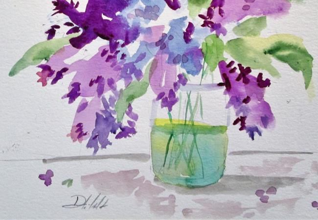 Art: Lilacs in Water=sold by Artist Delilah Smith