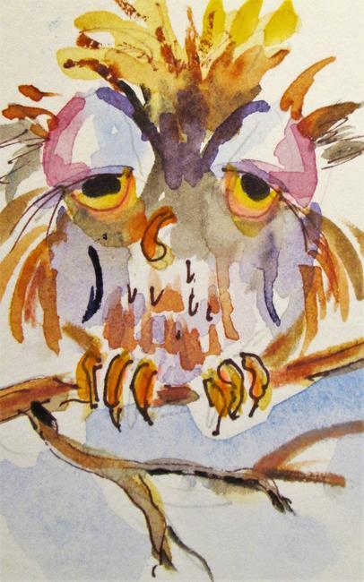 Art: Sleepy Owl No. 2 by Artist Delilah Smith