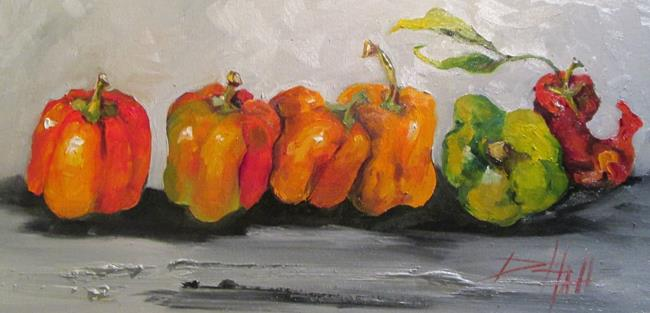 Art: Row of Peppers by Artist Delilah Smith