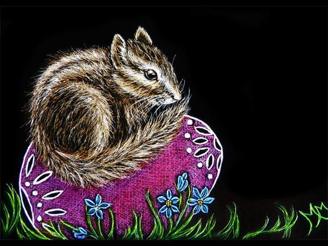 Art: Easter Chipmunk  (SOLD) by Artist Monique Morin Matson