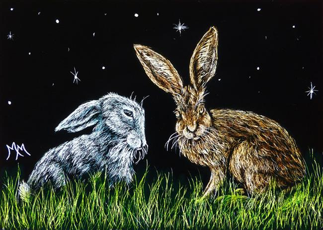 Art: Splitting Hares  (SOLD) by Artist Monique Morin Matson