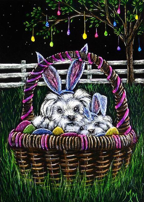 Art: Easter Puppies  (SOLD) by Artist Monique Morin Matson