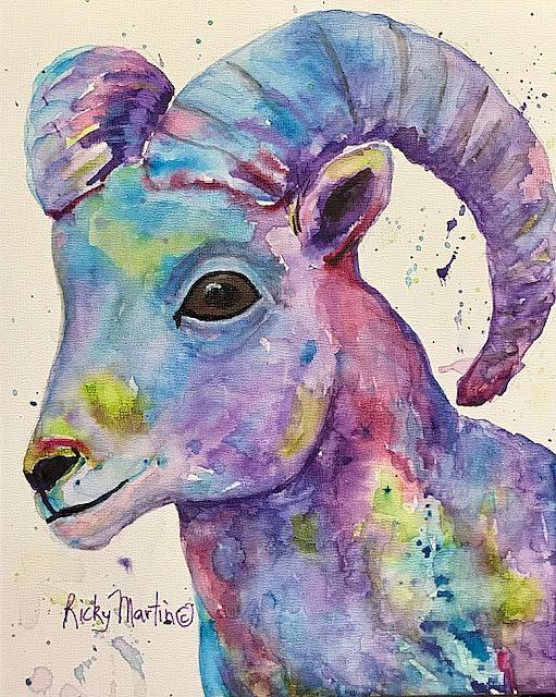 Art: Big Horn Sheep by Artist Ulrike 'Ricky' Martin
