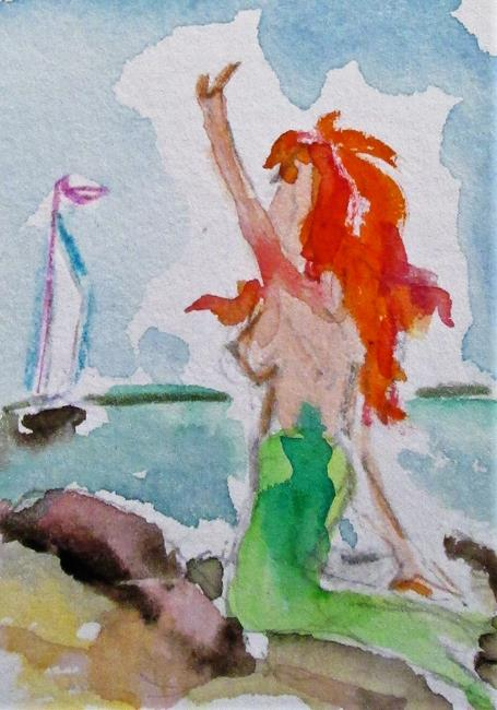 Art: Mermaid and Passing Sailboat by Artist Delilah Smith