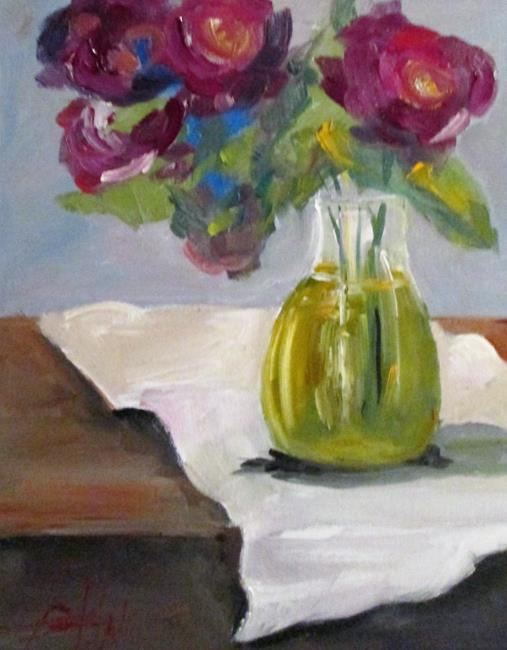 Art: Pink Roses in a Vase by Artist Delilah Smith