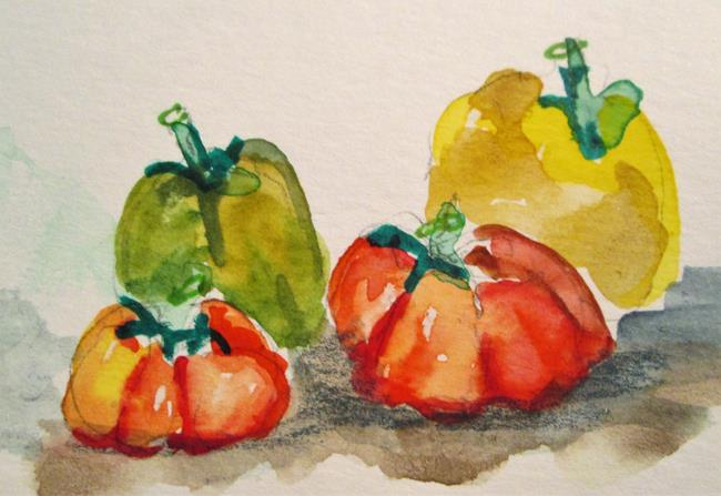 Art: Tomato and Peppers by Artist Delilah Smith