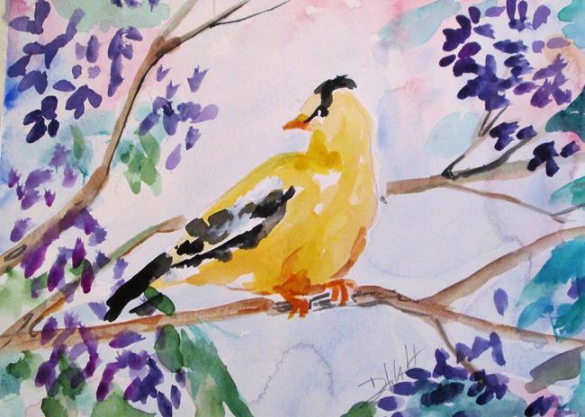 Art: Finch in Lilac Bush by Artist Delilah Smith