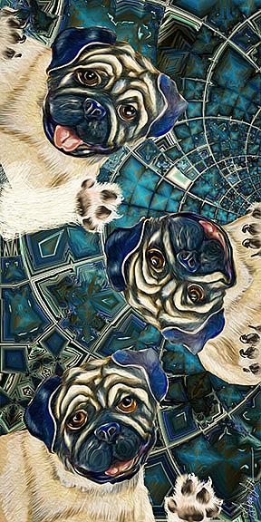 Art: Space Pugs:Adrift in Bliss by Artist Alma Lee