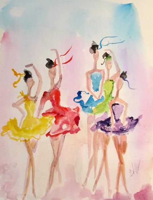 Art: Five Ballerinas by Artist Delilah Smith
