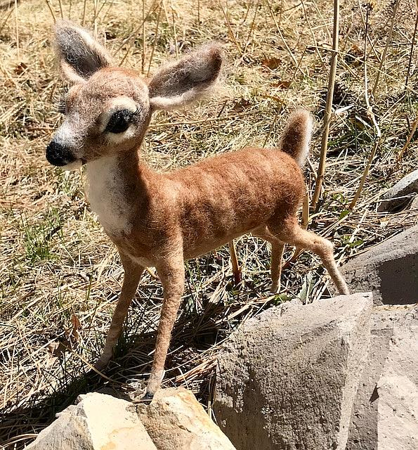 Art: Needle Felted Doe by Artist Ulrike 'Ricky' Martin