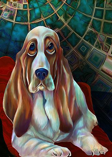 Art: Bennie Bassett Hound by Artist Alma Lee
