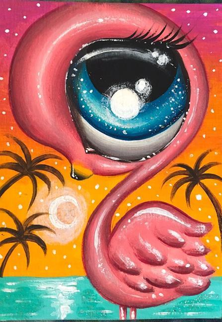 Art: Baby flamingo by Artist Luna Jordyn