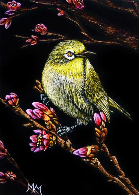 Art: Spring Finch  (SOLD) by Artist Monique Morin Matson