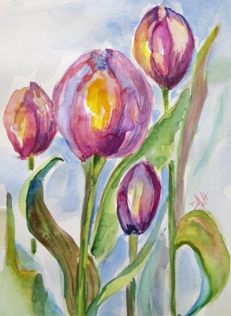 Art: Purple Tulips by Artist Delilah Smith