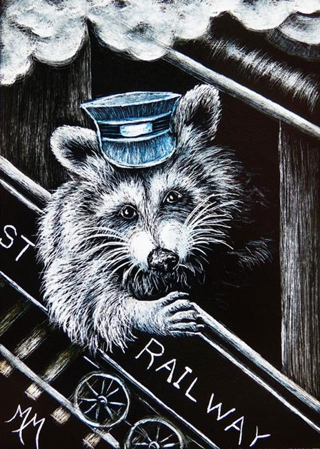 Art: Railway Conductor  (SOLD) by Artist Monique Morin Matson