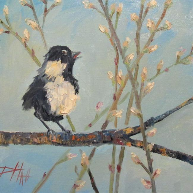 Art: Bird in Pussy Willows by Artist Delilah Smith