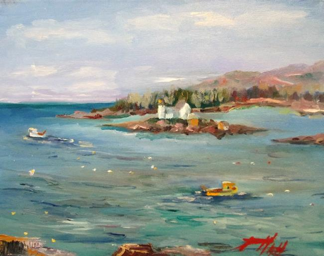 Art: Crabbers at Winter Harbor Light House by Artist Delilah Smith