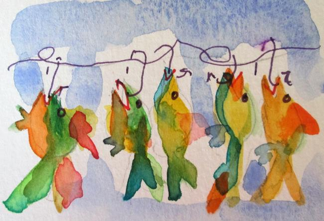 Art: Colorful Fish Aceo by Artist Delilah Smith