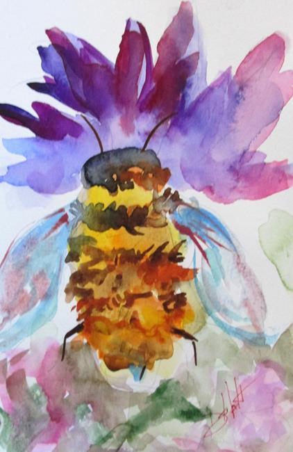 Art: Honey Bee abd Flower-sold by Artist Delilah Smith