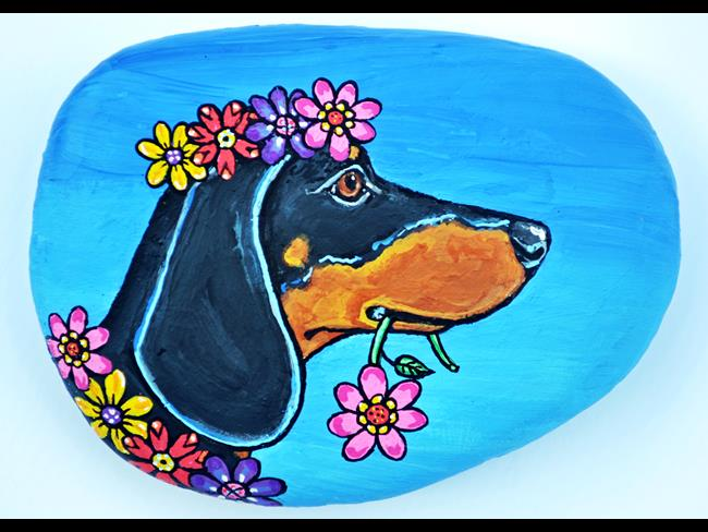 Art: Flower Dachshund Rock by Artist Melinda Dalke