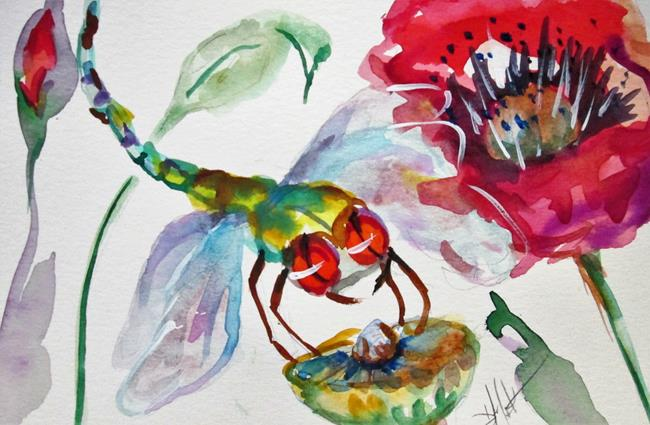 Art: Dragonfly and Poppies by Artist Delilah Smith