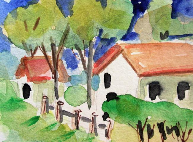Art: Landscape with Cottages aceo by Artist Delilah Smith