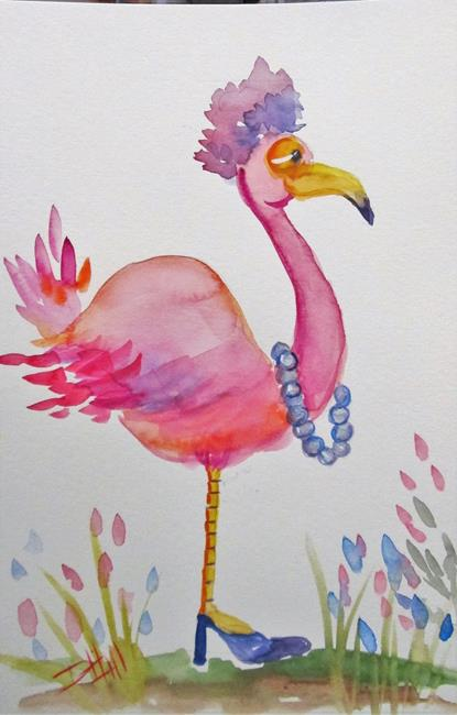 Art: Flamingo and Pearls by Artist Delilah Smith