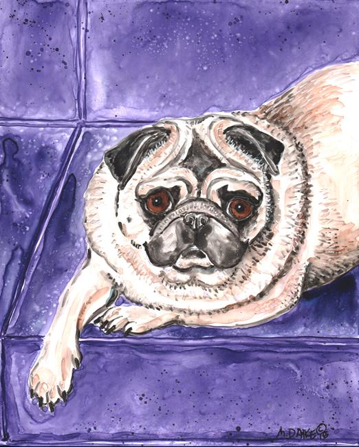 Art: Pug on Couch by Artist Melinda Dalke