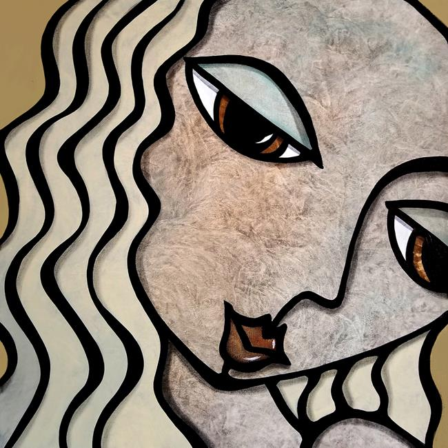 Art: Faces1263 2424 GW Abstract Art Original Painting Shouldnt Talk About it 1 by Artist Thomas C. Fedro