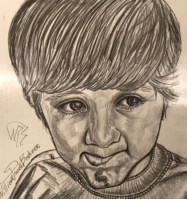 Art: Portraiture of a Boy. by Artist William Powell Brukner