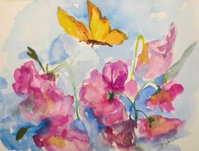 Art: Butterfly and Pansies by Artist Delilah Smith