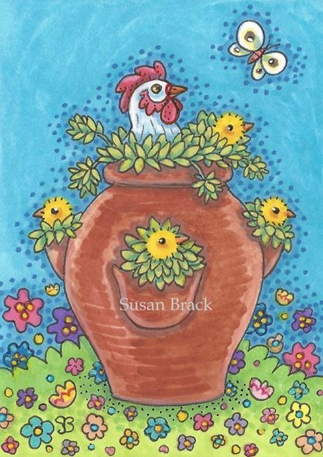 Art: HEN AND CHICKS by Artist Susan Brack