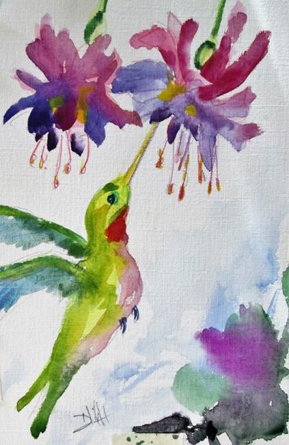 Art: Hummingbird and Fuchsia by Artist Delilah Smith
