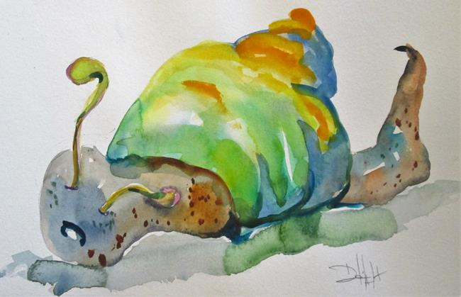 Art: Green Snail by Artist Delilah Smith
