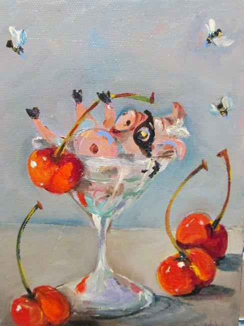 Art: Party Pig in Martini by Artist Delilah Smith