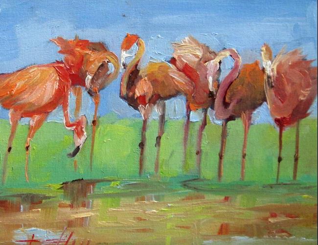 Art: Flamingos No. 3 by Artist Delilah Smith