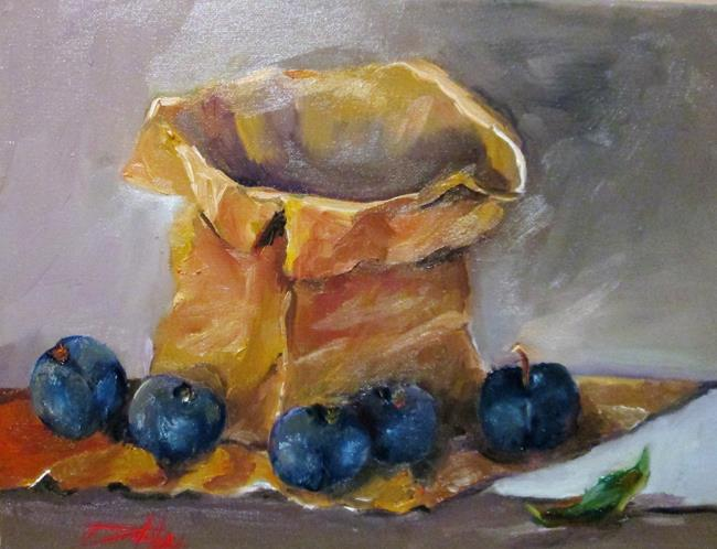 Art: Paper Bag and Plums by Artist Delilah Smith