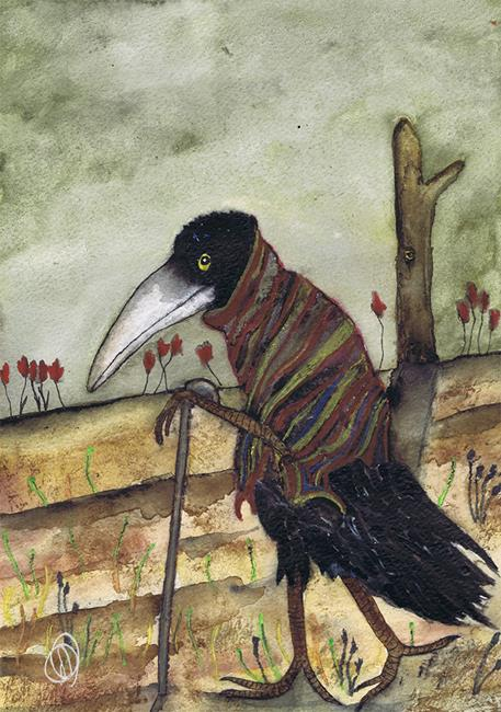 Art: WALKING CROW c134 by Artist Dawn Barker
