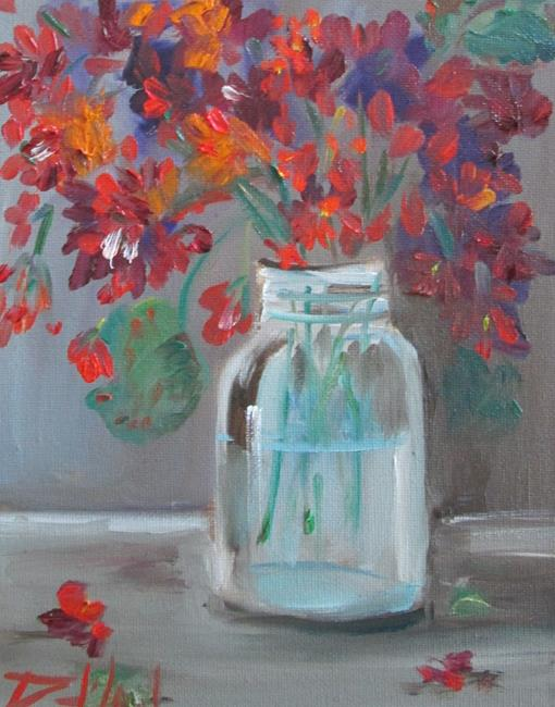 Art: Geraniums in a Fruit Jar by Artist Delilah Smith