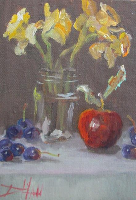 Art: Daffodils and Apple Still Life by Artist Delilah Smith