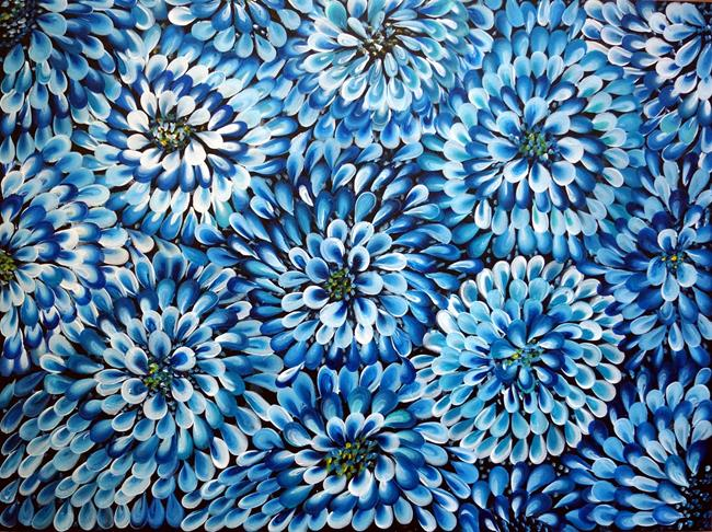 Art: BLUE FLORAL ABSTRACT by Artist LUIZA VIZOLI