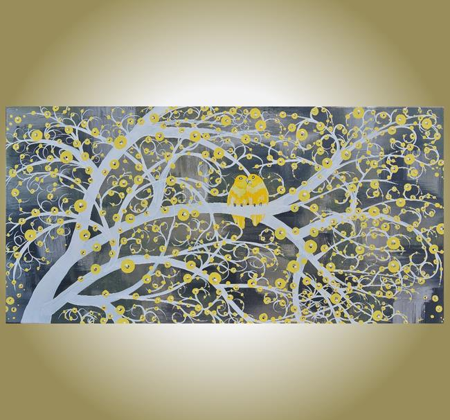 Art: A Yellow Gray Day (sold) by Artist Amber Elizabeth Lamoreaux