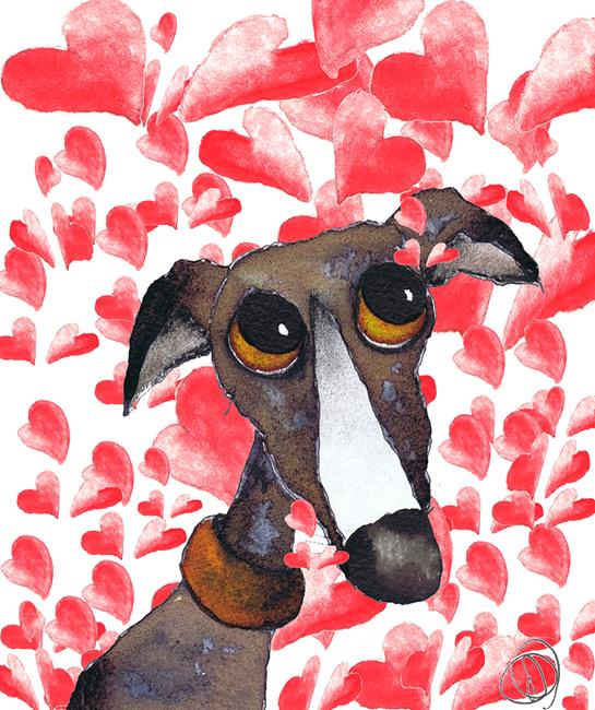 Art: GREYHOUND LOVE g262 by Artist Dawn Barker