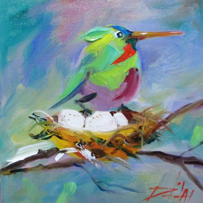 Art: Hummingbird and Nest by Artist Delilah Smith