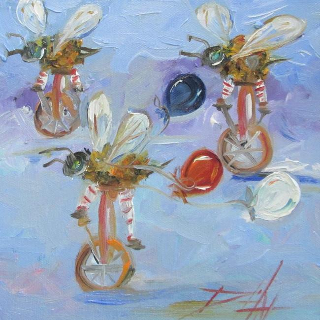 Art: Biker Bees with Balloons by Artist Delilah Smith